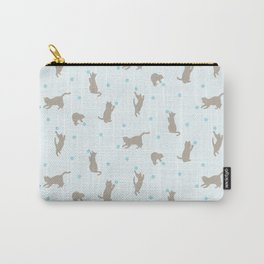 Polka Dot Cats in Blue Carry-All Pouch