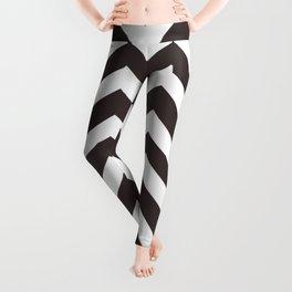 Black coffee - grey color - Zigzag Chevron Pattern Leggings