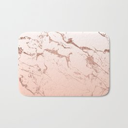 Pink blush white ombre gradient rose gold marble pattern Bath Mat