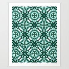 Watercolor Green Tile 3 Art Print