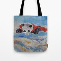 superhero Tote Bags featuring Panda Superhero by Michael Creese