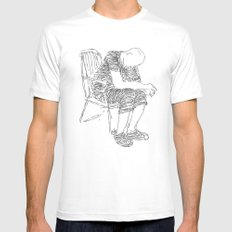 The Sitter White MEDIUM Mens Fitted Tee
