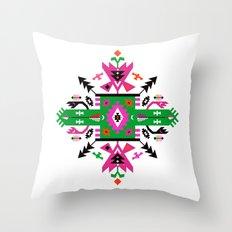 Fuchsia and Green Ethnic Aztec Ornament Throw Pillow