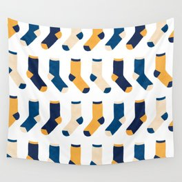 Colorful Socks Pattern - Blue & Yellow Wall Tapestry
