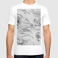 Spilled Ink Marble Mens Fitted Tee MEDIUM White