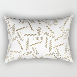 Geometrical white faux gold abstract retro 80's pattern Rectangular Pillow
