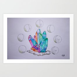 Moon Phases Crystals 1 Art Print