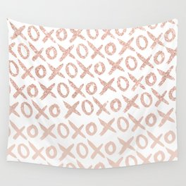 Elegant faux rose gold blush pink love xoxo typography pattern Wall Tapestry