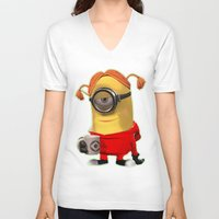 minion V-neck T-shirts featuring MINION by DisPrints