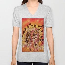 Sunset Butterfly Tigress  Unisex V-Neck