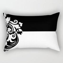 Black & White Inverted Damask Rectangular Pillow