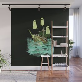ghost pirate boat Wall Mural