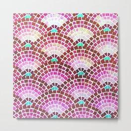 Mosaic Fan Pattern in Magenta Metal Print