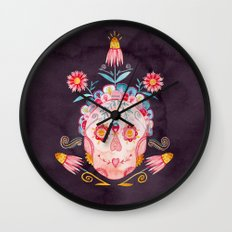 Family Skeleton Sugar Skull Wall Clock