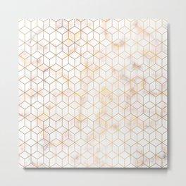 Geometric Gold Pattern on Gold Marble Metal Print