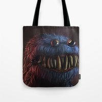 cookie monster Tote Bags featuring Cookie Monster by Adrián Retana