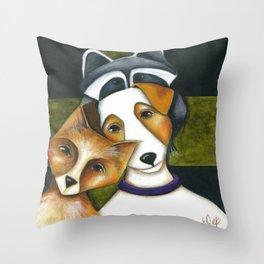 Dog Fox Raccoon Forest Friends Jack Russell Terrier Original art by Deb Harvey Throw Pillow