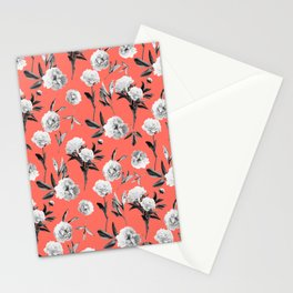 Peonies Mono Coral Stationery Cards