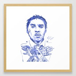 Vybz kartel Pen drawing Print Framed Art Print