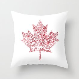 Maple Leaf - red Throw Pillow