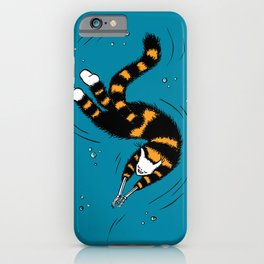 Weird Cat With Bone Hands Swimming Happily iPhone Case