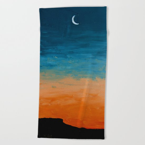 Pre-Dawn Moonrise, painting Beach Towel