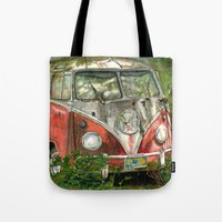 volkswagon Tote Bags featuring VW Bus in the Woods by Barb Laskey Studio