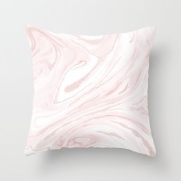 Modern blush pink marbleized abstract design Throw Pillow