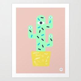 Green Cactus with yellow pot Art Print