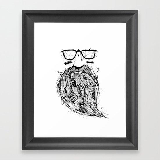 Beard Me Some Music (Black & White) Framed Art Print
