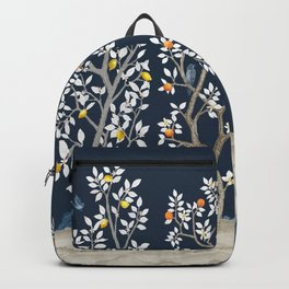 Citrus Grove Chinoiserie Mural - Navy Backpack