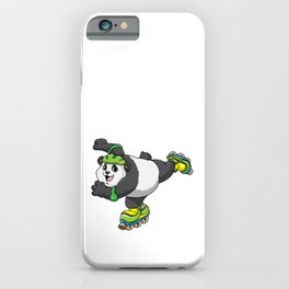 Panda as Inline skater with Inline skates and Helmet iPhone Case