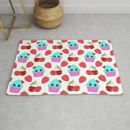 Cute funny sweet adorable happy little blue baby cupcakes, little cherries and red ripe summer strawberries cartoon fantasy white pattern design Rug