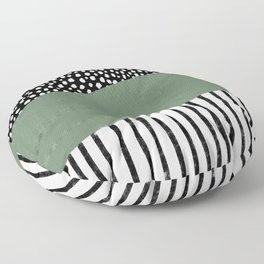 Polka Dots and Stripes Pattern (black/white/sage green) Floor Pillow