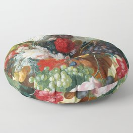 Fruit and Flowers in a Terracotta Vase by Jan van Os Floor Pillow