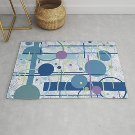 Mid Century Modern Abstract, Blue, Teal Rug