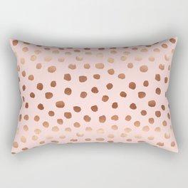 Rose Gold pastel pink polka dot painted metallic pattern basic minimal pattern print Rectangular Pillow