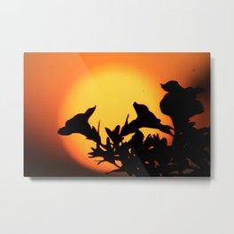 Flower Silhouettes Metal Print
