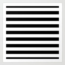 Large Black and White Horizontal Cabana Stripe Art Print