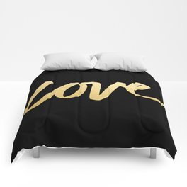 Love Gold Black Type Comforters