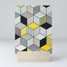 Colorful Concrete Cubes 2 - Yellow, Blue, Grey Mini Art Print