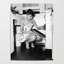 Audrey Hepburn in Kitchen, Black and White Vintage Art Poster