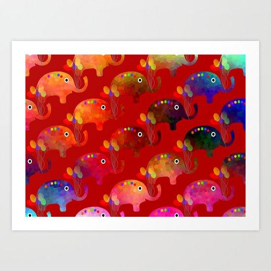 Colorful Elephants Art Print