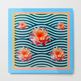 Peach Color Water Lily Water Garden Metal Print
