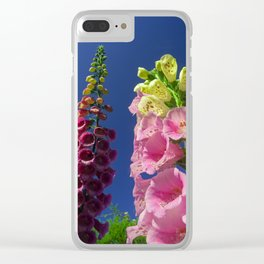 Foxglove Flowers Reaching for the sky Clear iPhone Case