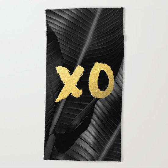 XO gold - bw banana leaf Beach Towel