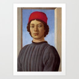 "Sandro Botticelli ""Portrait of a young man with red hat"" Art Print"