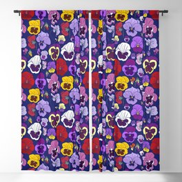 Pansy Flowers Spring Illustration Blackout Curtain
