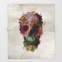 2001 Throw Blankets featuring SKULL 2 by Ali GULEC