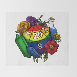 Pride Rainbow D20 Tabletop RPG Gaming Dice Throw Blanket